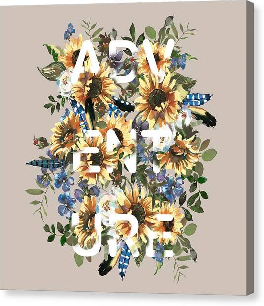 Canvas Print featuring the painting Watercolour Sunflowers Adventure Typography by Georgeta Blanaru