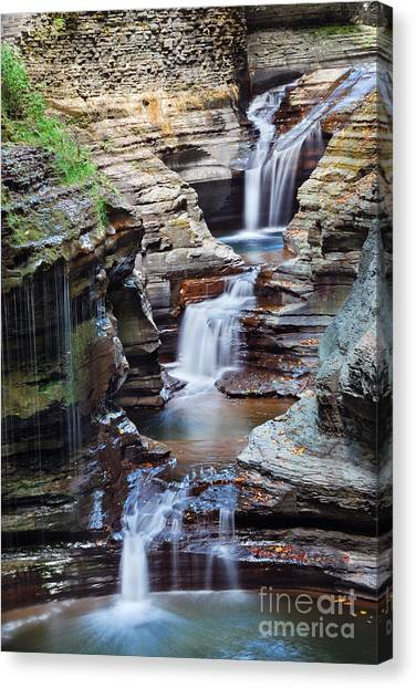 Cliffs Canvas Print - Waterfall Closeup In Woods With Rocks by Songquan Deng
