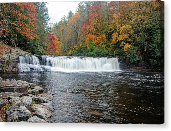 Waterfall In Autumn Canvas Print