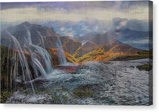 Waterfalls In The Mountains Canvas Print