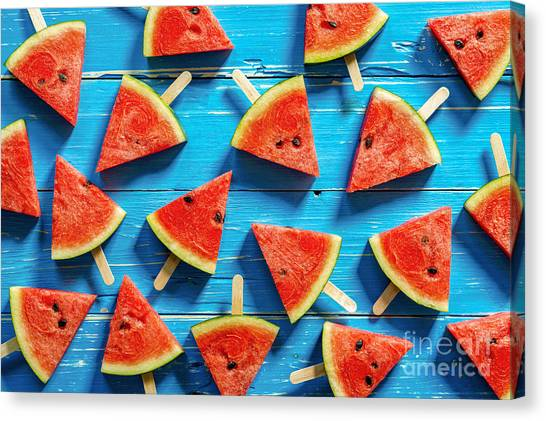 View Canvas Print - Watermelon Slice Popsicles On A Blue by I Am Kulz