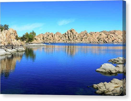 Watson Lake And Rock Formations Canvas Print