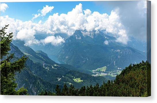 Canvas Print featuring the photograph Watzmann And Koenigssee, Bavaria by Andreas Levi