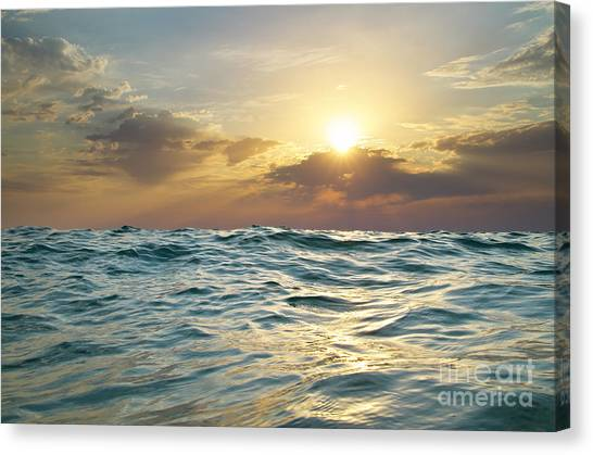 Wave On Sunset. Nature Composition Canvas Print by Djgis