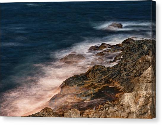 Canvas Print featuring the photograph Waves And Rocks At Sozopol Town by Milan Ljubisavljevic