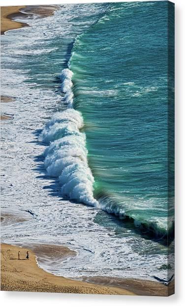 Waves At Nazare Beach - Portugal Canvas Print