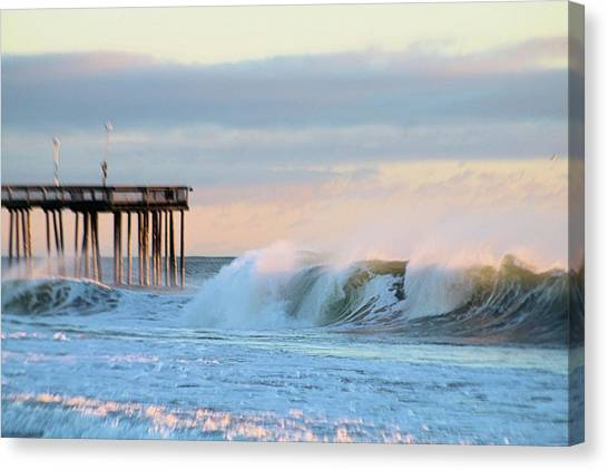 Canvas Print featuring the photograph Waves At The Inlet Beach by Robert Banach