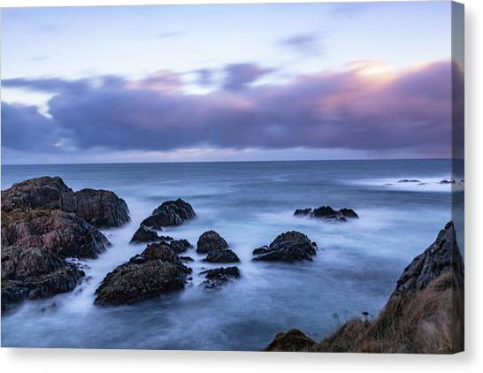 Waves At The Shore In Vesteralen Recreation Area Canvas Print