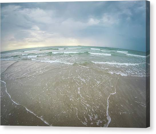 Canvas Print featuring the photograph Waves Crashing On Wrightsville Beach Before The Storm by Alex Grichenko