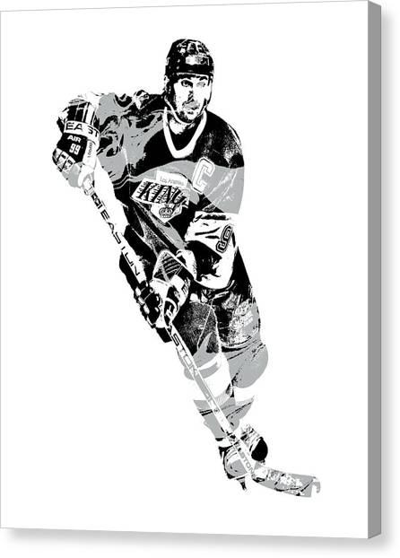 Wayne Gretzky Canvas Print - Wayne Gretzky Los Angeles Kings Pixel Art 1 by Joe Hamilton