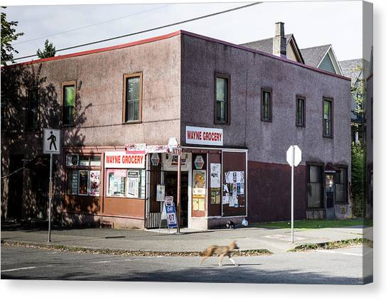 Canvas Print featuring the photograph Wayne Grocery by Juan Contreras