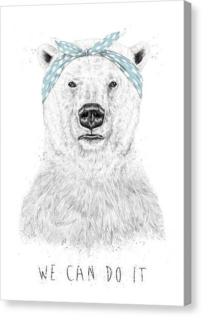 Polar Bears Canvas Print - We Can Do It by Balazs Solti
