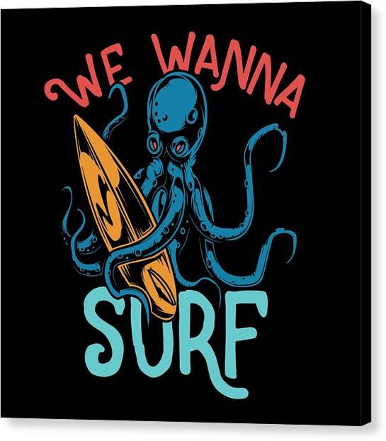 Surfboard Canvas Print - We Wanna Surf by Jk