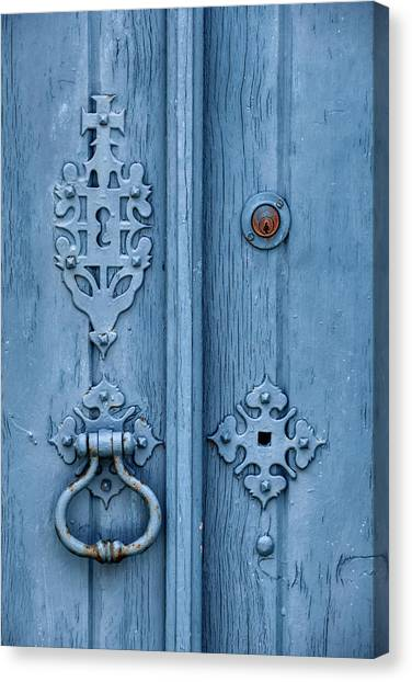 Weathered Blue Door Lock Canvas Print