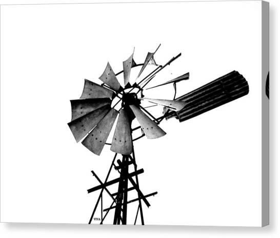 Weathered Windmill - B-w Canvas Print