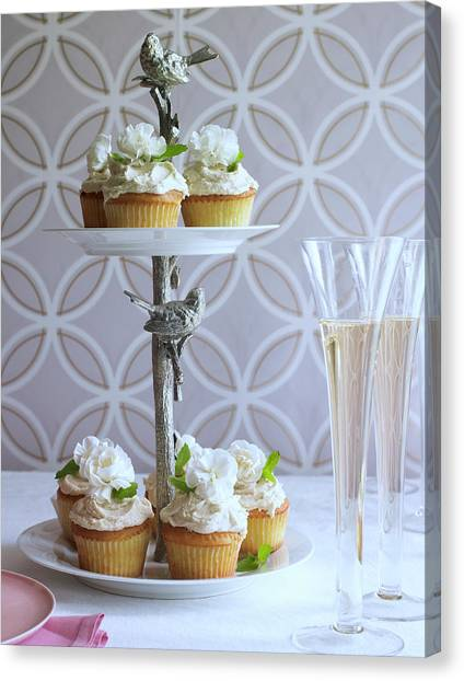 Wedding Bouquet Canvas Print - Wedding Cupcakes And Champagne by Iain Bagwell