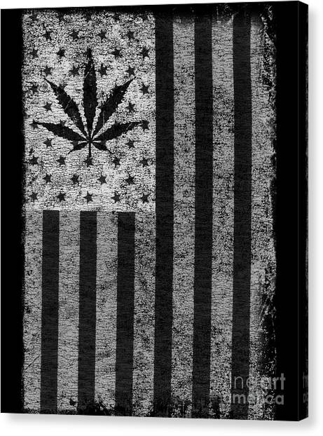 Weed Leaf American Flag Us Canvas Print