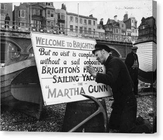 Placard Canvas Print - Welcome To Brighton by Edward G Malindine