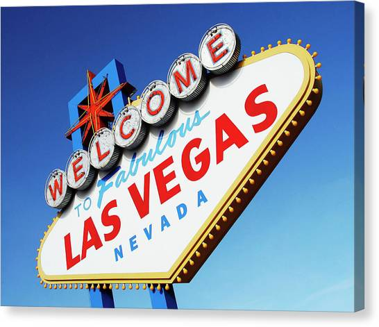 Welcome To Las Vegas Sign, Low Angle Canvas Print by Steven Puetzer