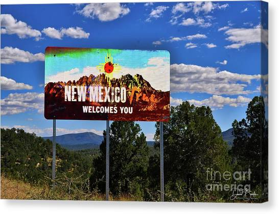 Welcome To New Mexico Canvas Print by David Burks