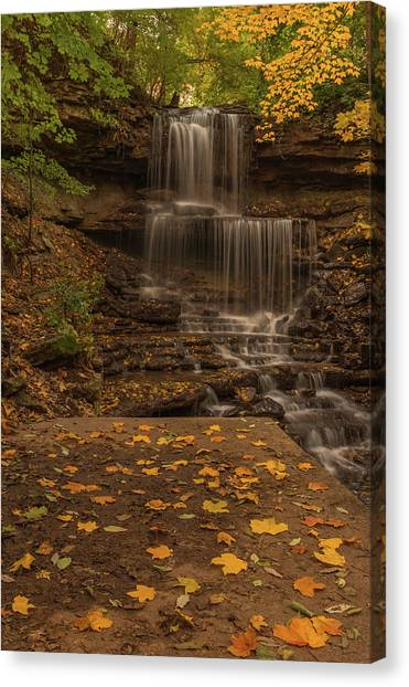 Canvas Print featuring the photograph West Milton Falls In Autumn by Dan Sproul