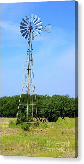 Canvas Print featuring the photograph West Texas Windmill A9718 by Mas Art Studio