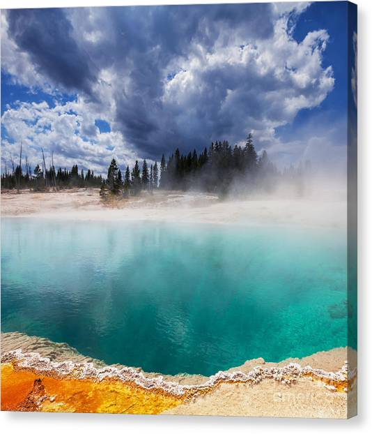 Wild West Canvas Print - West Thumb Geyser Basin In Yellowstone by Galyna Andrushko
