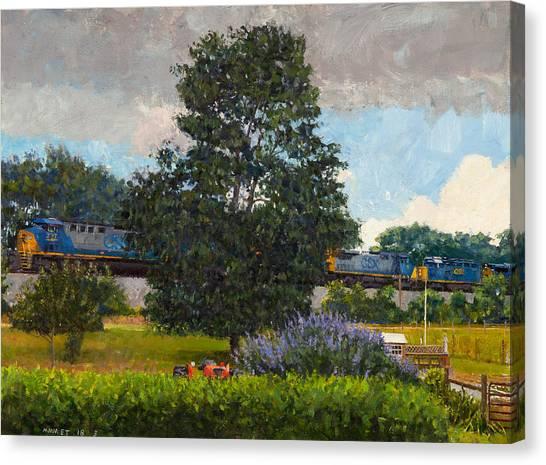 Freight Trains Canvas Print - Westbound Freight, Crozet by Edward Thomas