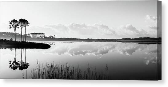 Western Lake Misty Morning Panorama Black $ White Canvas Print