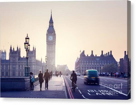 Urban Life Canvas Print - Westminster Bridge At Sunset, London, Uk by Esb Professional