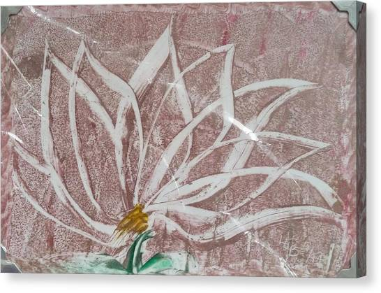 White Abstract Floral On Silverpastel Pink Canvas Print