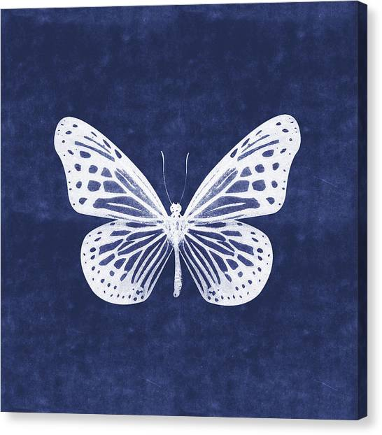 Butterfly Canvas Print - White And Indigo Butterfly- Art By Linda Woods by Linda Woods