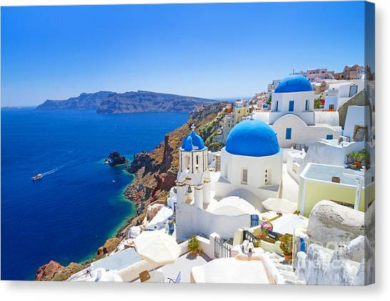 Beauty Canvas Print - White Architecture Of Oia Village On by Patryk Kosmider