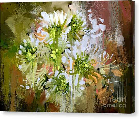 Acrylic Canvas Print - White Chrysanthemum Flowers,abstract by Tithi Luadthong