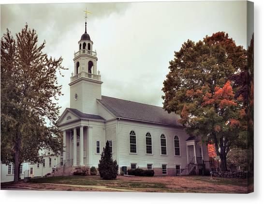 Canvas Print featuring the photograph White Church In Fall - Hollis Nh by Joann Vitali