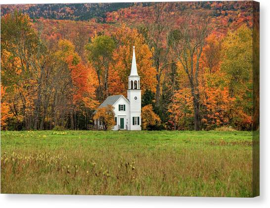 Canvas Print featuring the photograph White Country Church In Autumn - Wonalancet Union Chapel  by Joann Vitali