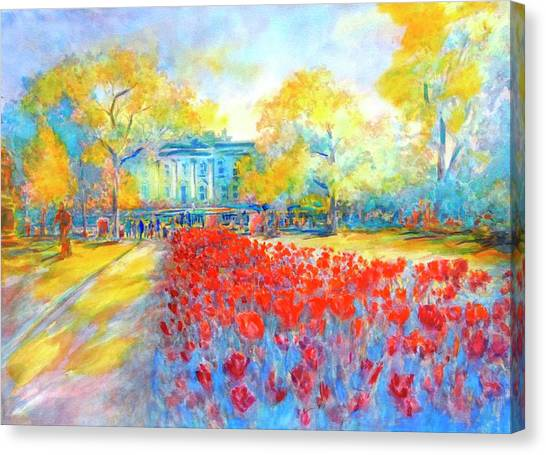 White House Canvas Print - White House And Tulips No 1 by Virgil Carter