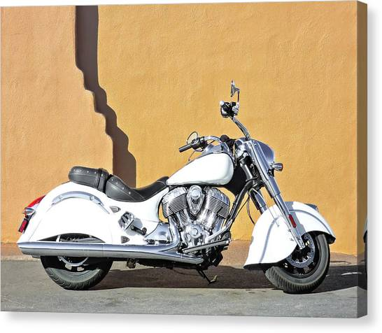 White Indian Motorcycle Canvas Print