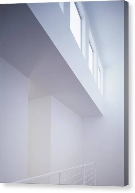 White Interior With Windows Canvas Print
