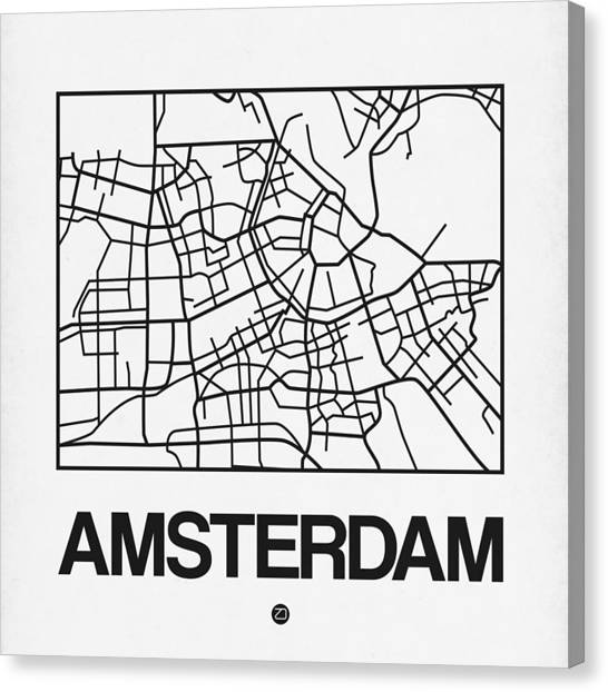 Holland Canvas Print - White Map Of Amsterdam by Naxart Studio