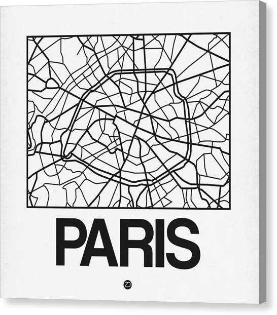 French Canvas Print - White Map Of Paris by Naxart Studio