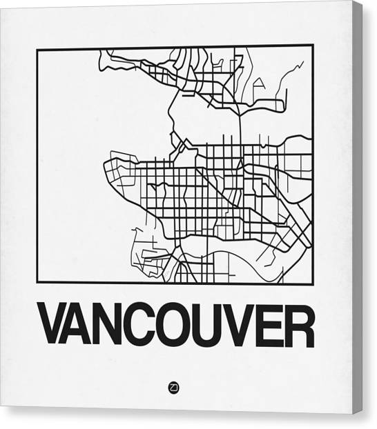 Vancouver Canvas Print - White Map Of Vancouver by Naxart Studio