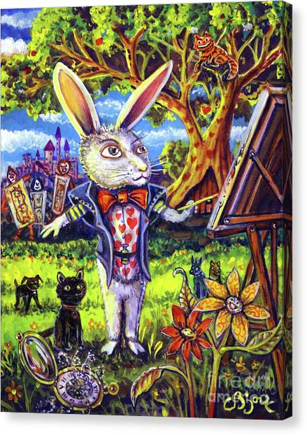 White Rabbit Alice In Wonderland Canvas Print