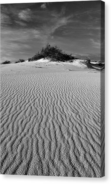 White Sands New Mexico Waves In Black And White Canvas Print