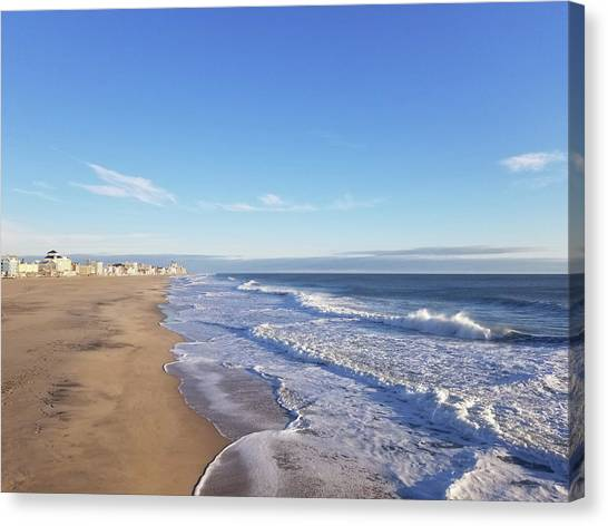 Canvas Print featuring the photograph White Waves by Robert Banach
