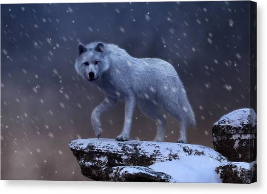Canvas Print featuring the digital art White Wolf In A Blizzard by Daniel Eskridge