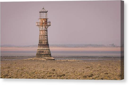 Canvas Print featuring the photograph Whiteford Point Lighthouse In Pink by Elliott Coleman