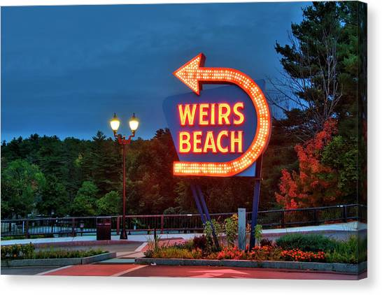 Canvas Print featuring the photograph Wiers Beach Sign - Laconia, Nh by Joann Vitali
