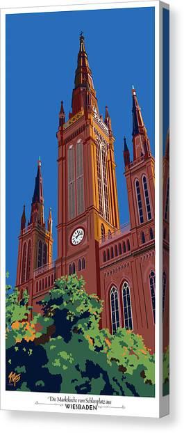 Wiesbaden Marktkirche  Canvas Print