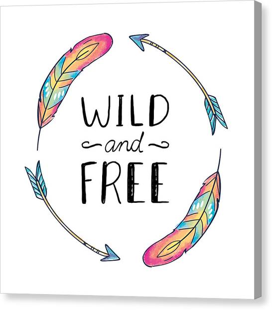Wild And Free Colorful Feathers - Boho Chic Ethnic Nursery Art Poster Print Canvas Print
